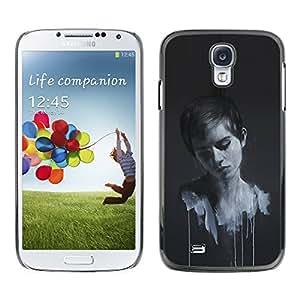 KLONGSHOP // Cubierta de piel con cierre a presión Shell trasero duro de goma Protección Caso - Emma Wats0N Pintura - Samsung Galaxy S4 //