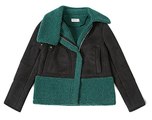 today-UK Womens Suede Lamb Wool Patchwork Hooded Jacket 1