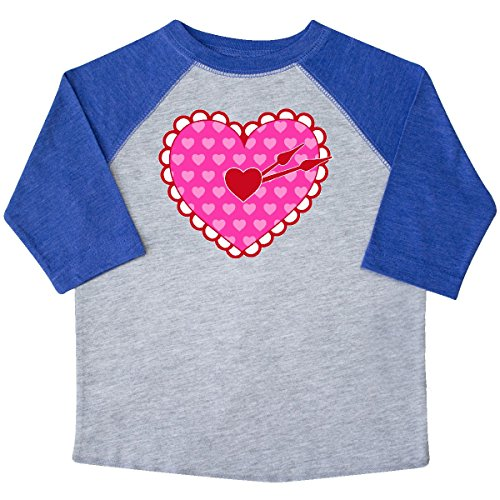inktastic Valen-Time Heart-Shaped Toddler T-Shirt 4T Heather and Royal 2e445 (Valentimes Gifts)