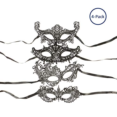 4 Pieces Lace Masquerade Mask for Women - Ambithou Women's Sexy Exquisite High-end Lace Eyemask Masquerade Venetian Lace Mask for Halloween Masquerade Carnival (Black/Soft Version)