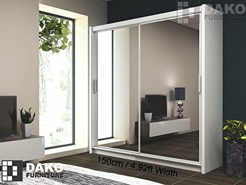 Armario de puertas correderas París 150 con espejo, color blanco, 150 cm de ancho: Amazon.es: Hogar
