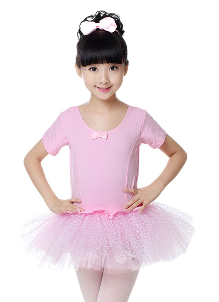 ezShe Girls Sequined Ballet Tutu Dress Ballerina Leotard Dance Dress, Pink 5XL