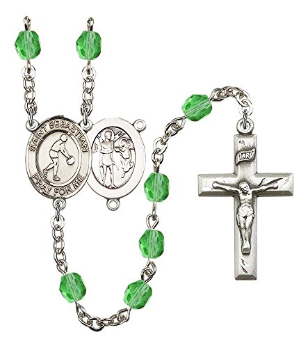 (Silver Plate Rosary features 6mm Peridot Fire Polished beads. The Crucifix measures 1 3/8 x 3/4. The centerpiece features a St. Sebastian/Basketball medal.)