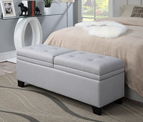Pulaski DS-2281-683 Upholstered End of Bed Storage Bench in Soft Grey, 52.00