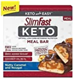 SlimFast Keto Meal Replacement Nutty Caramel & Nougat Bar 1.48 ounces, 5 bars per pack (Pack of 4)