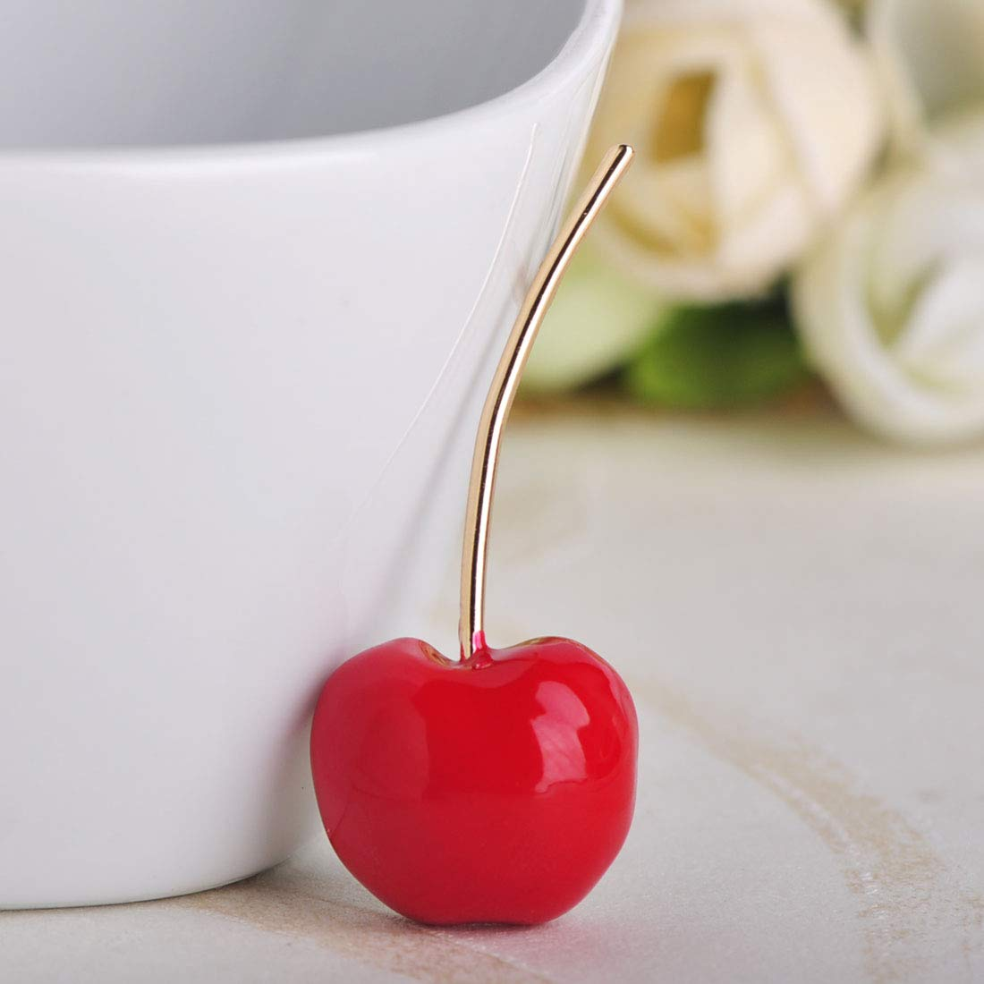 MECHOSE Lovely Red Cherry Shape Brooch Pins for Women Kid Cute Small Enamel Fruit Sweater Shirt Bag by MECHOSEN (Image #5)
