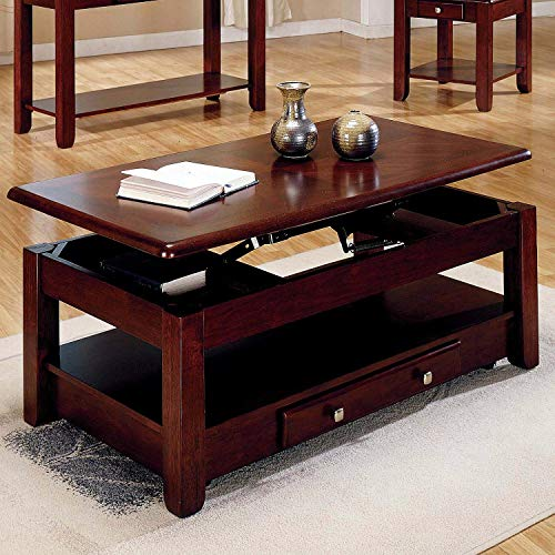 Cherry Finish Glass Top Table - lift top table Lift-top Coffee Table in Cherry Finish with Storage Drawers and Bottom Shelf