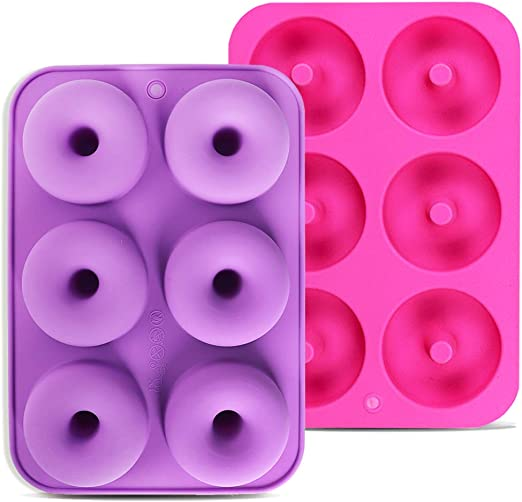 Donuts and Bagels 2pcs 6-Cavity Silicone Donut Baking Pan for Making Cakes Calnow Donut Mold