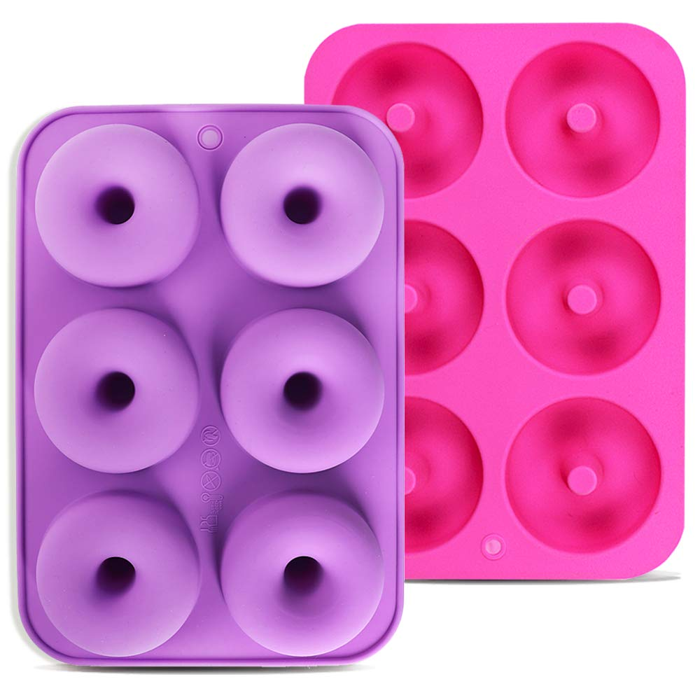 Calnow Donut Mold Donuts and Bagels 2pcs 6-Cavity Silicone Donut Baking Pan for Making Cakes