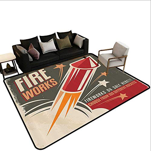 Kids Rugs Vintage Decor Collection Retro Fireworks in Vintage Paper with Stars Rockets Western Halloween Illustration Extra Large Rug3'3 x5'3 Gray -