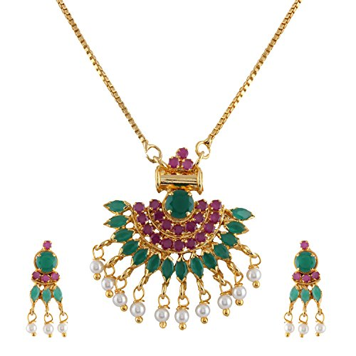 Jaipur Art - Efulgenz Gold Tone Indian Bollywood Ethnic Pink & Green Traditional Pendant Necklace with Chain and Earrings Jewelry for Women