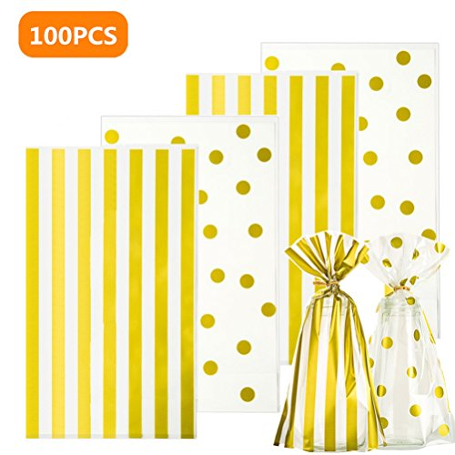 Plastic Cookie Bags Gold Stripe and Gold Dot for Treat Candy Cookie Packaging Bags 5.9x9.8 inch, Pack of 100 Clear Cello Bags ()