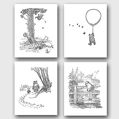 (Set of 4) Winnie the Pooh Black and White NurseryArt (Classic Prints, Baby Wall Decor)