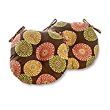 Greendale Home Fashions Round Indoor/Outdoor Bistro Chair Cushion, 15-Inch, Flowers on Chocolate, Set of 2