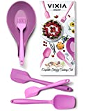 VIXIA Dishwasher Safe Silicone Spatula Set of 5 Kitchen Utensils. Heat Resistant Set Includes Large Spatula, Mixing Spoon, Small Spatula, Pastry Brush, Spoon Rest