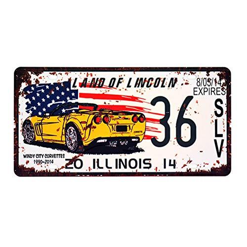 Ayiguri Vintage Feel Wall Decor Car Vehicle License Plate SPTE Souvenir Tinplate Metal Sign Poster Plaque 12 x 6 Inches (Illinois)
