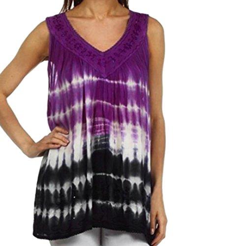Women Plus Size Clothing, Misaky Summer Sleeveless Lace Vest Tank Shirt Tunics Tops (2XL, Purple)