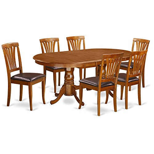 East West Furniture PLAV7-SBR-LC 7-Piece Dining Table Set ()