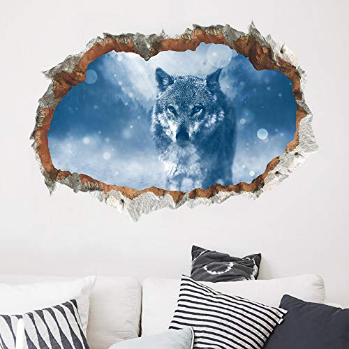 Wall Stickers, DIY 3D Snow Wolf Wall Decals Removable Kids Nursery Home Decor Mural Art Wall Sticker -