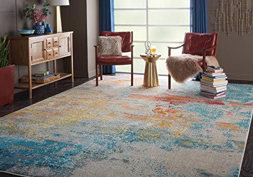 (Nourison Celestial CES02 Multicolor Abstract 10' x 14' Large Area Rug (10'x14'), SEALIFE)