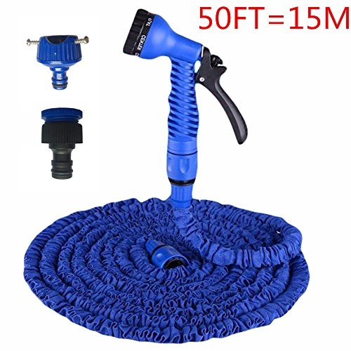50FT Expandable Magic Flexible Garden Hose Kits,MeiLiio 7 Pattern Watering Nozzle High Pressure Adjustable Hose Nozzles Power Washer Water Spray Lawn Sprinkler Car Wash Water Gun Washing Pets (Blue) Flexible Gun