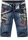 jeansian Men's Knee Length Straight Shorts Pants Denim Jeans MJB032 LightBlue W33