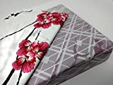 King Size Bedding on Sale DaDa Bedding Flat Sheet Set - Purple Blossoming Floral Sakura Cherry Blossoms - Red White Pillow Cases - King - 3-Pieces