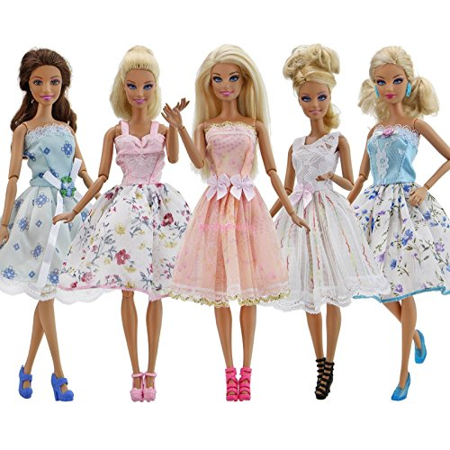Phantomx 5 Sets Fashion Colorful Mini Dresses & 5 Shoes Clothes For Barbie Doll Toy Gift - Teen Gothic Dolly Costumes