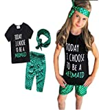 Kids Girls Summer Ruffle Shirts Sequin Mermaid Short Pant Outfits with Headband size 3-4 Years (Green)