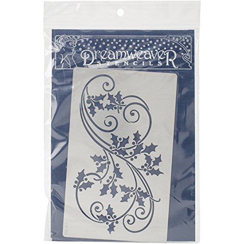 Holly Flat Cards - Stampendous Dreamweaver Metal Stencil, Holly Flourish
