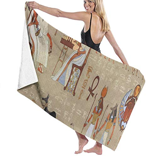 Beach Bath Towel Ancient Egyptian Wolf Vintage Personalized Custom Women Men Quick Dry Lightweight Beach & Bath Blanket Great for Beach Trips, Pool, Swimming and Camping 31