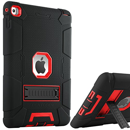 BENTOBEN iPad Air 2 Case, [Hybrid Shockproof Case] with Kickstand Rugged Triple-Layer Shock Resistant Drop Proof Case Cover for iPad Air 2 with Retina Display/iPad 6, Black/Red