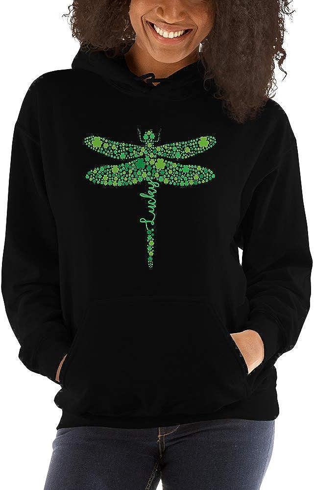 TEEPOMY Dragonfly Lucky Shamrock St Patricks Day Unisex Hoodie