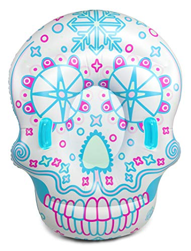 BigMouth Inc. Giant Sugar Skull Snow Tube - 4 ft. Wide Inflatable Snow Tube with Easy Grip Handles, Made of Durable Vinyl with Welded Seams - Makes a Great Gift