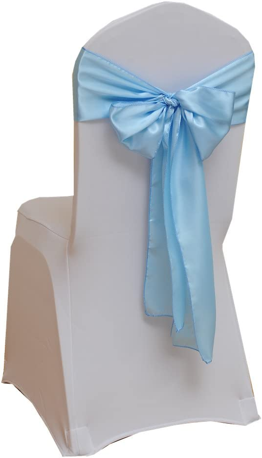 Fvstar 25pcs Sky Blue Party Chair Ribbons Satin Chair Sashes Wedding Chair Bows for Christmas Events Supplies Baby Shower Birthday Without White Covers