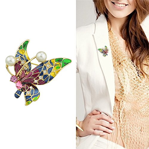 Poly mesh pearl brooch decorated with European and American fashion clothing foreign trade drops of enamel brooch butterfly -