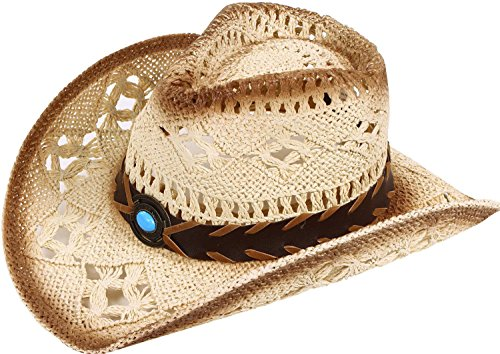 (Classic Western Cowboy Straw Hat w/ Leather Band, Blue)