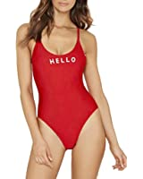 OVERMAL Femmes Lettre Imprimer Backless Jumpsuit Swimsuit Bodysuit Maillots de bain