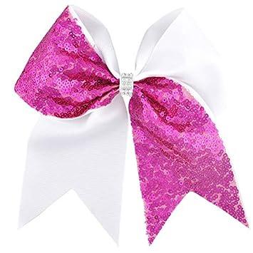"7/"" Patchwork Glitter Cheer Bow Shiny Flag Hair Bow Hair Clip For Cheerleaders"