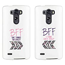 365 Printing Crazy BFF Floral Arrows White Matching Best Friends Phone Cases Christmas Gift for BFF