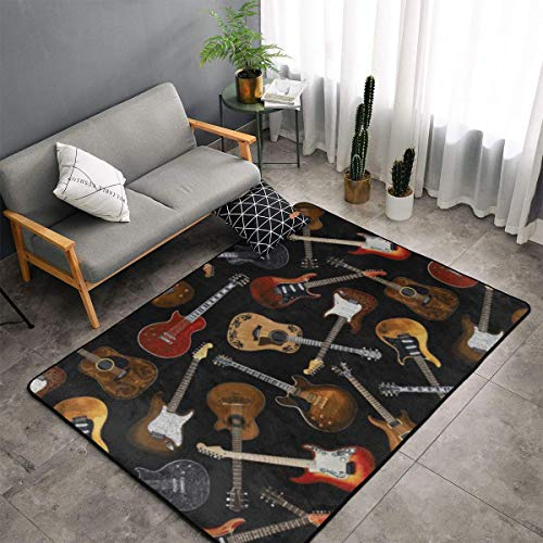 Bedroom Living Room Kitchen King Size Area Rug Home Decor - Guitars Floor Mat Doormats Quick Dry Bath Mat Yoga Mat Throw Rugs Runner (60 x 39 Inch)