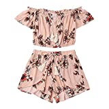 Women's Summer Floral Collar Shorts Pants Outfit Sportswear Casual Two Piece Set Off Shoulder Beachwear Crop Tops Set (Pink, M)