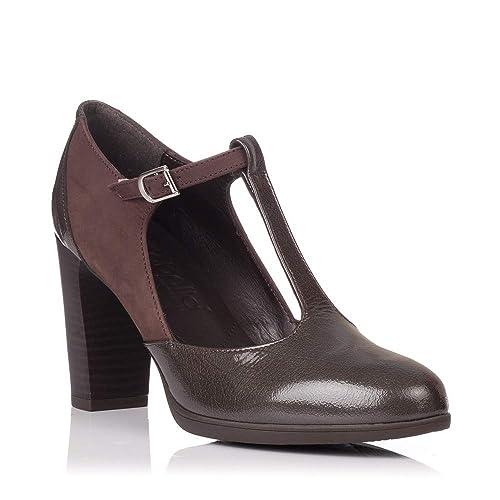 ac12f3536d Zapatos De Hebilla con Tacón Modabella 77-1173 Marrón - Marron  Amazon.es   Zapatos y complementos