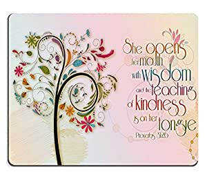 Wknoon Inspirational Christian Bible Verse Proberbs Quotes Mouse Pad, She Opens Her Mouth with Wisdom and The Teaching of Kindness is on Her Tongue, 9.45 X 7.87 Inch (240mmX200mmX3mm )