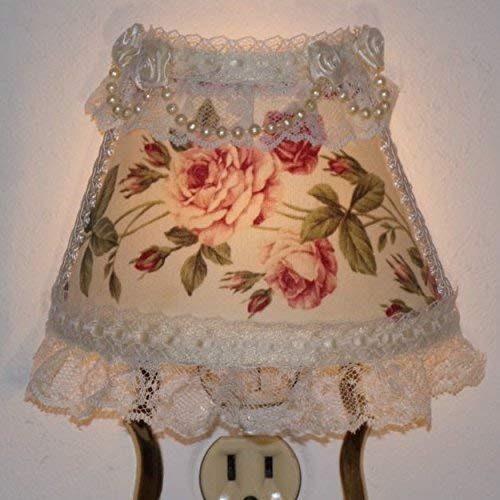 (Pink and Burgundy Cottage Chic Roses Night Light with Ivory Ribbon Laces)