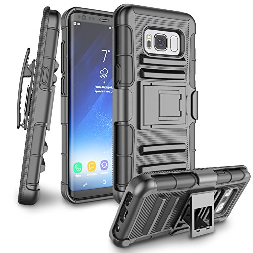 Galaxy S8 Plus Case, S8 Plus Holsters Clips Case, Jeylly [Belt Clip] Full Body [Black] Rugged Shockproof Heavy Duty Kickstand Carrying Armor Combo Cases Cover for Samsung Galaxy S8 Plus G955A