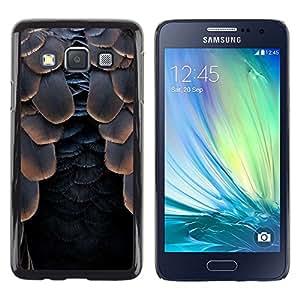 FlareStar Colour Printing Bird Feathers Raven Black Halloween cáscara Funda Case Caso de plástico para Samsung Galaxy A3 / SM-A300