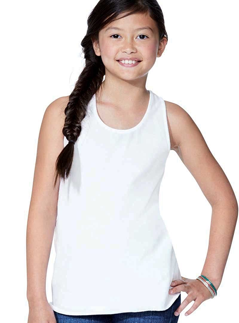 LAT Girls' 100% Cotton Jersey Scoop Neck Relaxed Racerback Tank Top