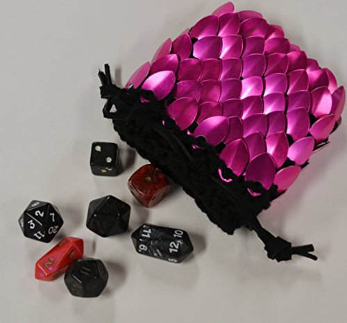 Scalemail Dice Bag in knitted Dragonhide Armor- Hot Pink - Small 3.5''x3.5'' by Crystal's Idyll