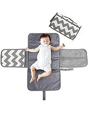 BelleStyle Skötmatta bärbar baby skötmatta för resor skötstation vikbar resa blöjväska med tvättbar och avtorkbar skötdyna och fastsättning för barnvagnar